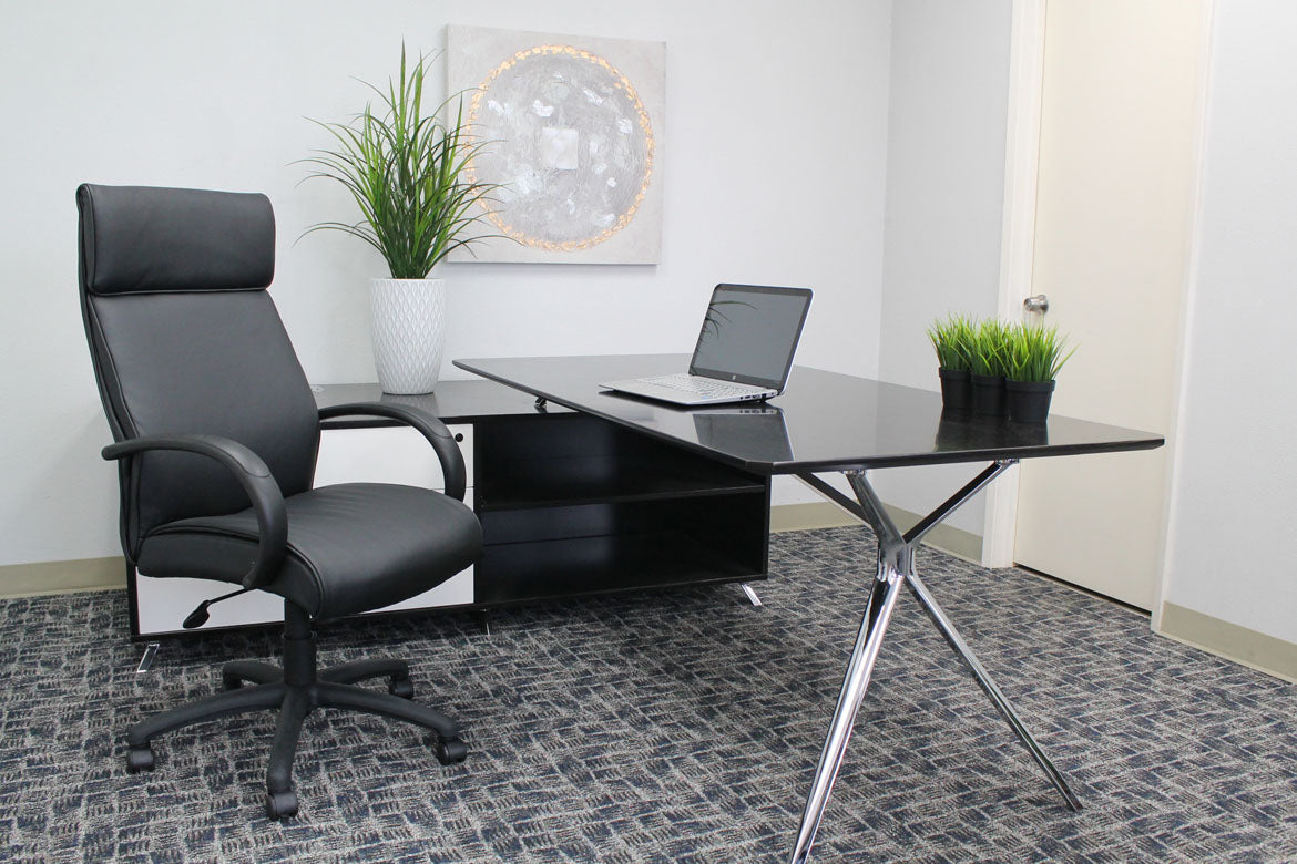 Classic Black Executive Office Chair in Faux Leather