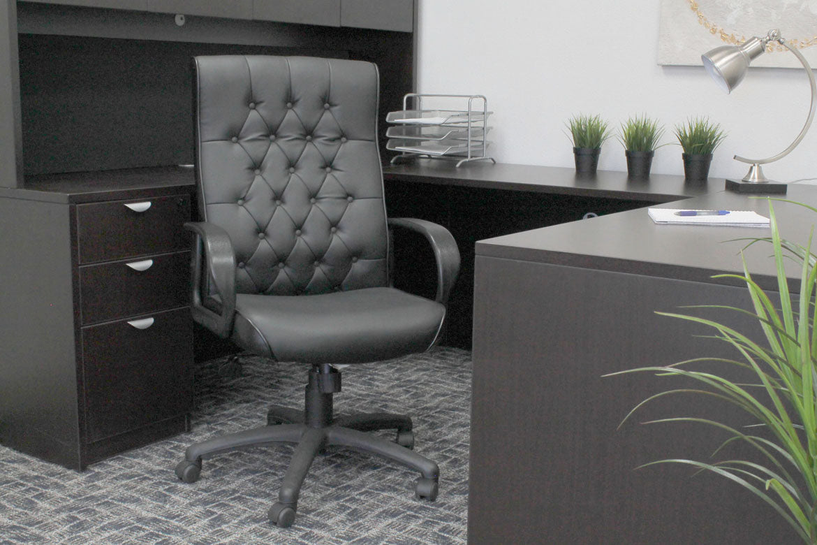 Superior Black Faux Leather Office Chair w/ Button Tufted Design