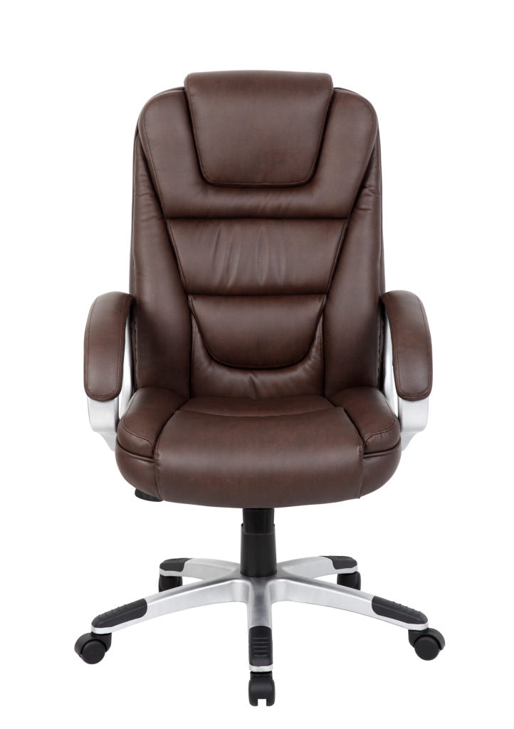 Brown Leather Office Chair w/ Ergonomic Design