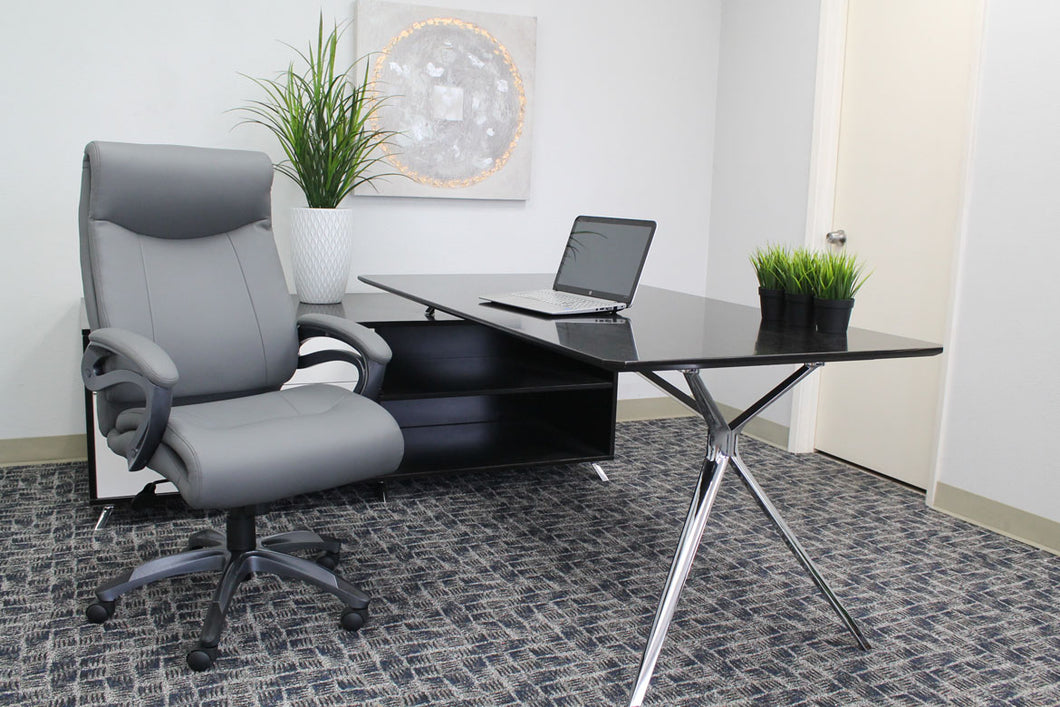 Robust Grey Office Chair of Leather & Nylon