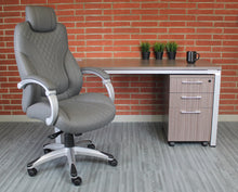 Load image into Gallery viewer, Striking Grey Faux Leather Office Chair w/ Diamond Pattern