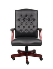Load image into Gallery viewer, Vintage-Style Black & Mahogany Executive Office Chair