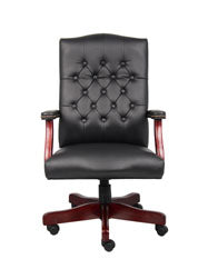 Vintage-Style Black & Mahogany Executive Office Chair