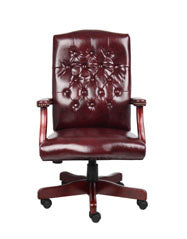 Vintage-Style Deep Red & Mahogany Executive Office Chair