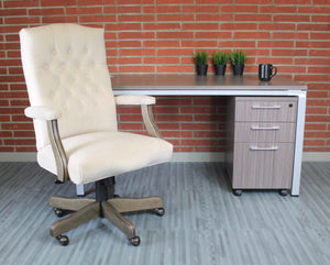 Vintage-Style Cream & Driftwood Executive Office Chair