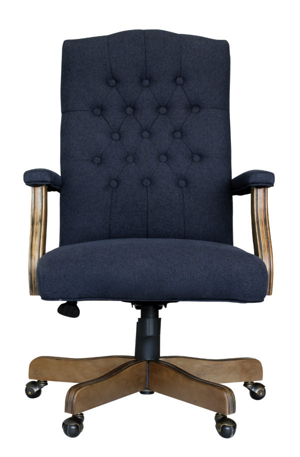 Vintage-Style Blue Denim & Driftwood Executive Office Chair