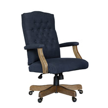 Load image into Gallery viewer, Vintage-Style Blue Denim & Driftwood Executive Office Chair