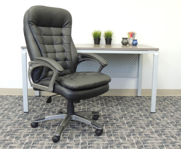 Pewter & Pillowtop Black Faux Leather Office Chair