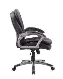 Pewter & Pillowtop Black Faux Leather Mid-Back Office Chair