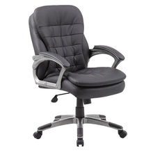 Load image into Gallery viewer, Pewter & Pillowtop Black Faux Leather Mid-Back Office Chair