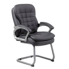 Load image into Gallery viewer, Pewter & Pillowtop Black Faux Leather Gust or Conference Chair