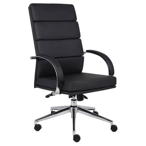 Breathable Flat-Back Black Faux Leather Office Chair