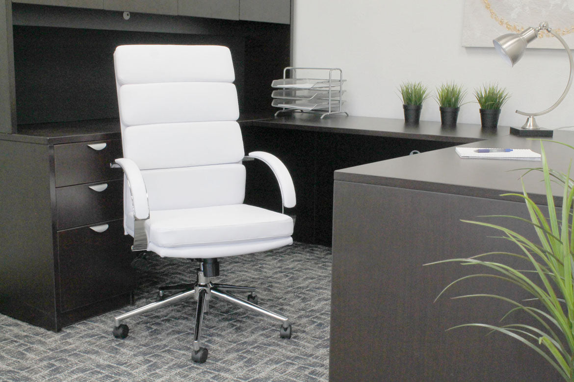 Breathable Flat-Back White Faux Leather Office Chair