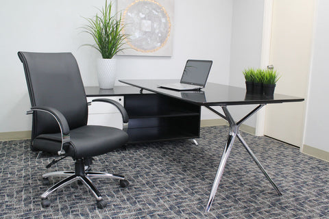 Black Faux Leather Office Chair w/ Smooth Back
