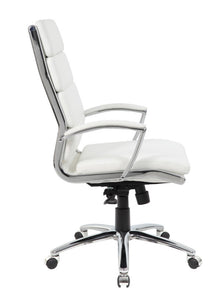 Stylish Padded White Faux Leather & Chrome Office Chair