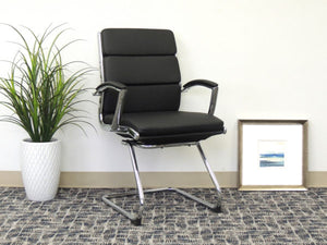 Classic Chrome & Faux Leather Guest Chair in Black