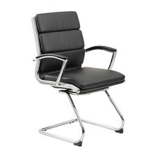 Load image into Gallery viewer, Classic Chrome & Faux Leather Guest Chair in Black