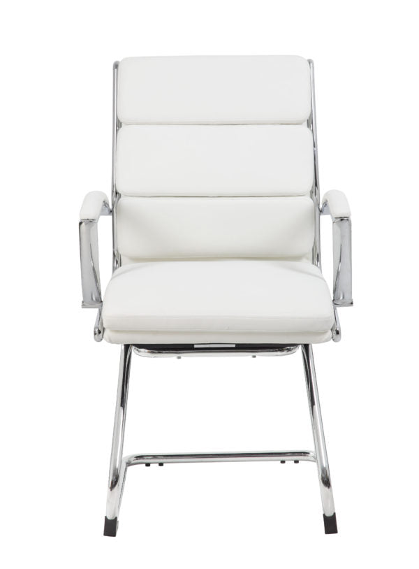 Classic Chrome & Faux Leather Guest Chair in White