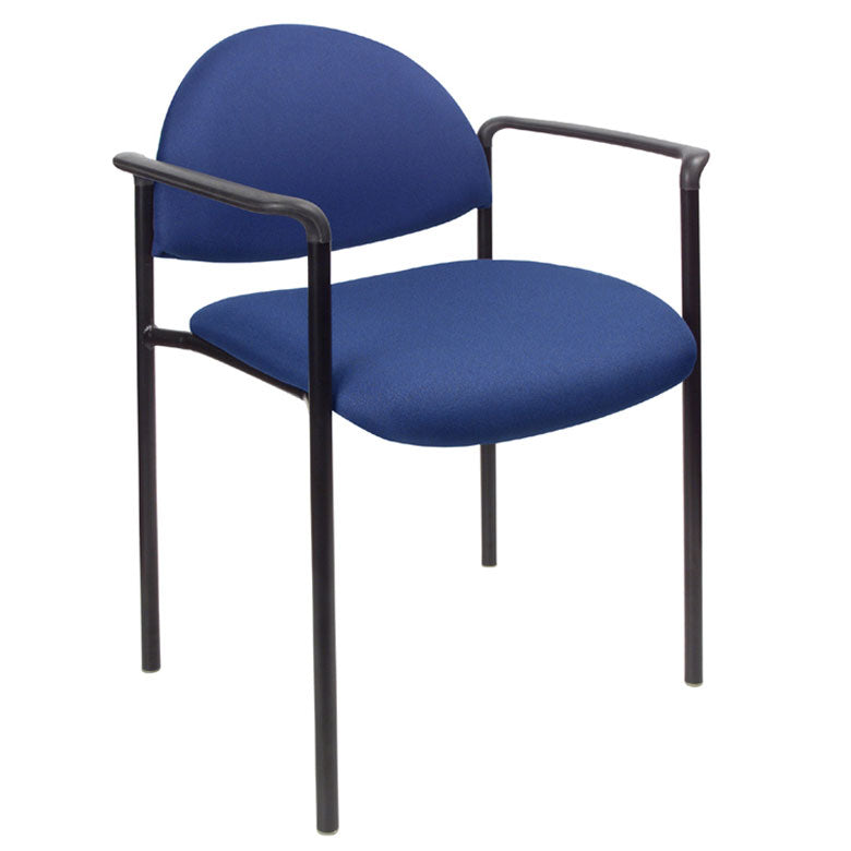 Rounded Blue Fabric & Powder-Coated Steel Guest or Conference Chair (Set of 2)