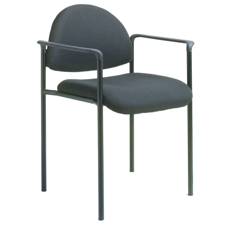 Rounded Black Fabric & Powder-Coated Steel Guest or Conference Chair (Set of 2)