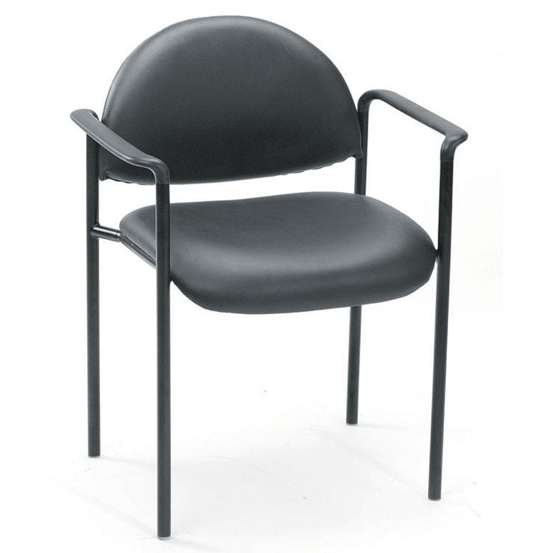 Rounded Black Faux Leather & Powder-Coated Steel Guest or Conference Chair (Set of 2)