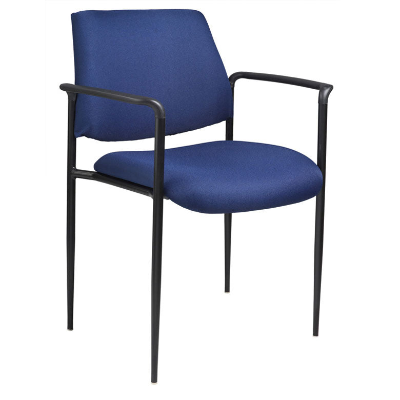 Blue Fabric & Powder-Coated Steel Guest or Conference Chair (Set of 2)