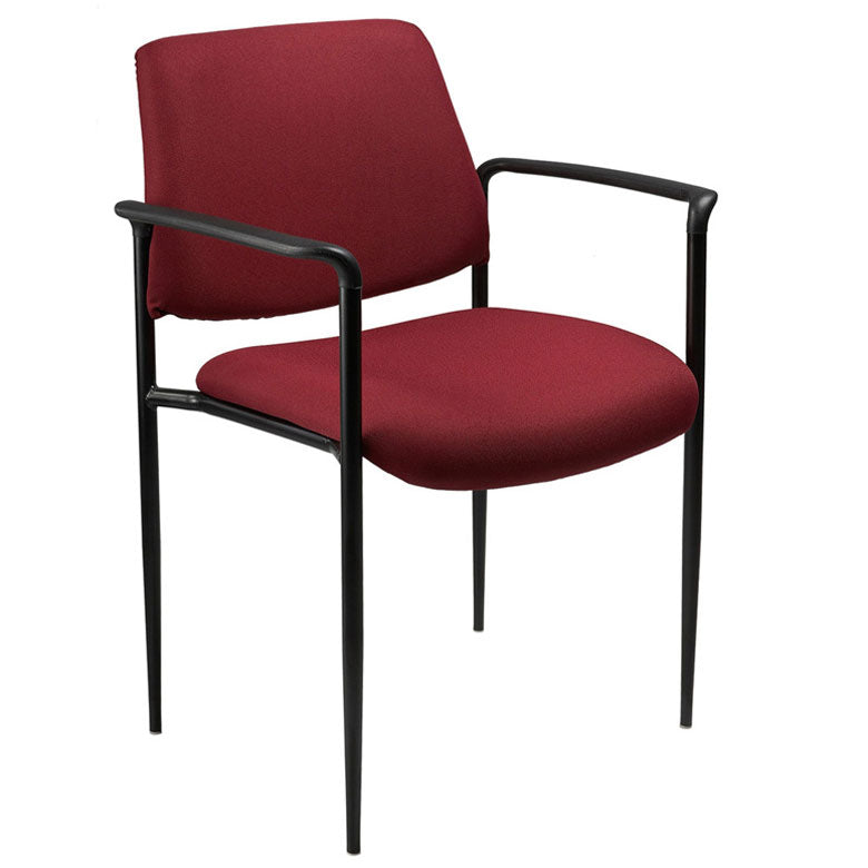 Burgundy Fabric & Powder-Coated Steel Guest or Conference Chair (Set of 2)
