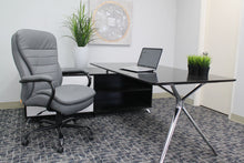 Load image into Gallery viewer, Big & Tall Grey Padded Office Chair