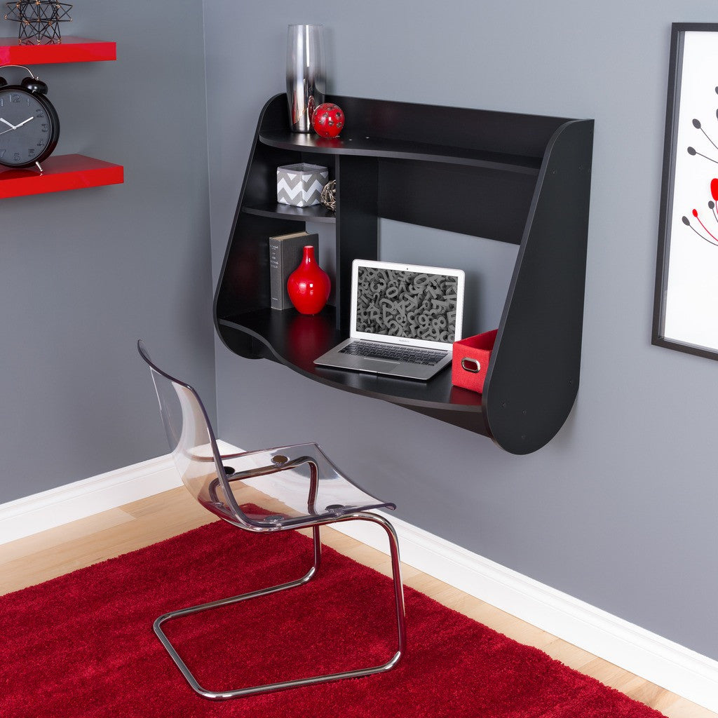 Modern Wall Mounted Black Office Desk