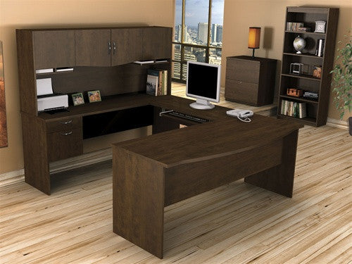 Harmony Collection U-shaped Workstation in Chocolate or Bordeaux