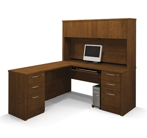 L-shaped Workstation with Hutch in Cappuccino Cherry or Tuscany Brown with Pre-Assembled Pedestals
