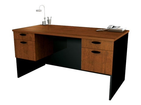 "Hampton Collection 59"" Executive Desk in Tuscany Brown & Black"