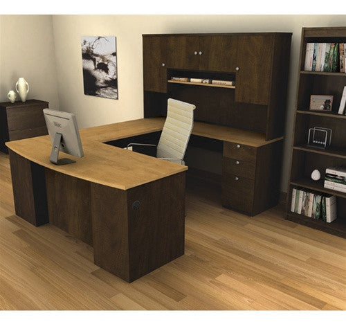 Manhattan Collection Chocolate-Maple U-shaped Desk-and-Hutch