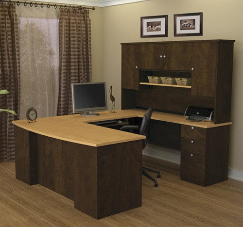 Manhattan Collection Chocolate Maple U Shaped Desk And