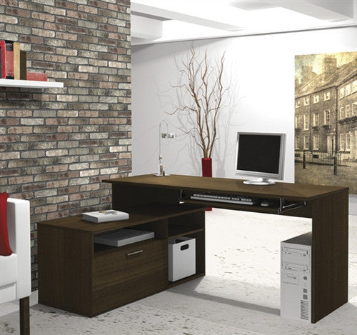 L-shaped Modern Office Desk in Tuxedo Finish
