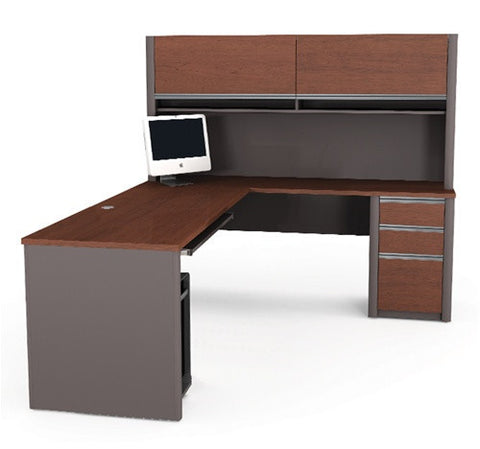 Connexion Bordeaux & Slate or Slate & Sandstone L-shaped Desk with Hutch
