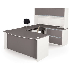 Connexion Modern Slate & Sandstone U-shaped Workstation with Hutch