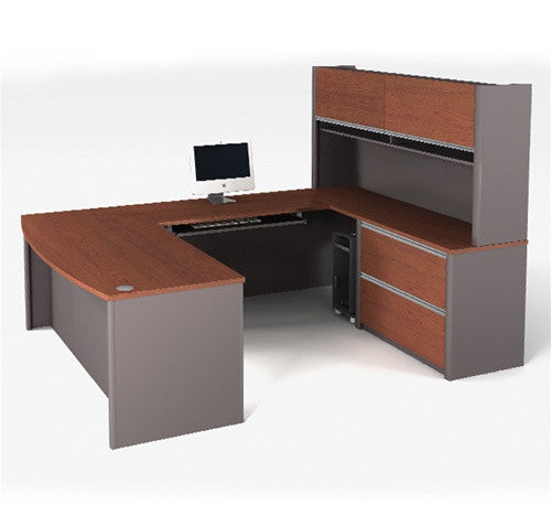 Bordeaux and Slate U-shaped Workstation Plus Bonus Hutch
