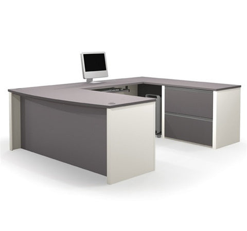 Modern U-shaped Workstation in Slate & Sandstone or Bordeaux & Slate