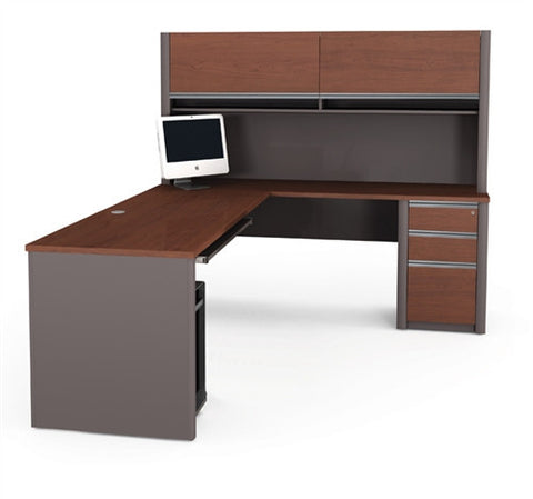 Modern L-shaped Desk with Hutch & Pre-Assembled Pedestal in Bordeaux or Sandstone