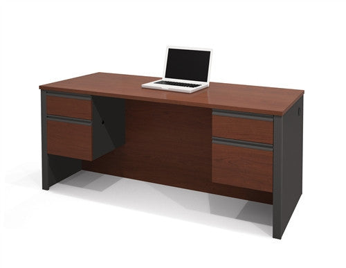 "Modern 71"" Executive Desk with Dual Half Pedestals in Bordeaux & Graphite"