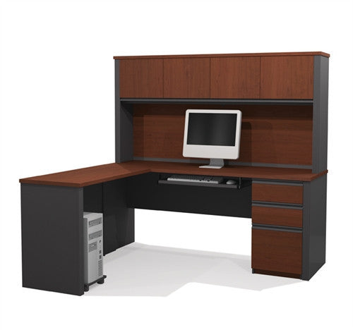 L-shaped Desk with Hutch in Bordeaux & Graphite