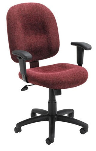 Soft Padded Office Chair with Armrests in Chestnut, Smoke, Wine, Black, or Sky Blue