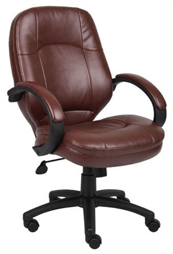 Leather Executive Chair plus Padded Armrests in Brown or Black