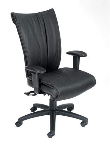 Black Leather Tall Back Chair and Adjustable Seat