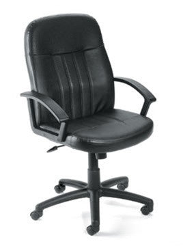 Black Leather Executive Computer Chair Plus Lumbar Support