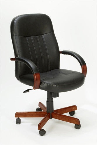 Black Executive Leather Chair Plus Cherry or Oak Wood Accents