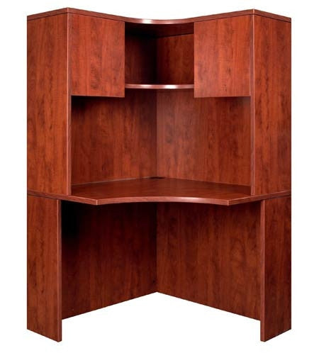 Tall and Slim Williams Collection Corner Workstation plus Hutch in Cherry