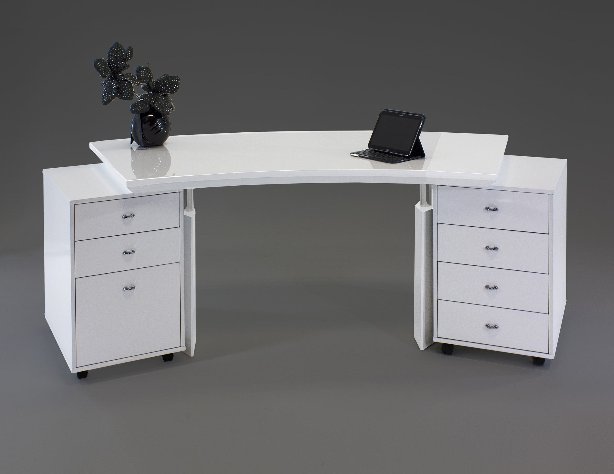 Modern Curved White Lacquer Executive Desk with Two Mobile Files