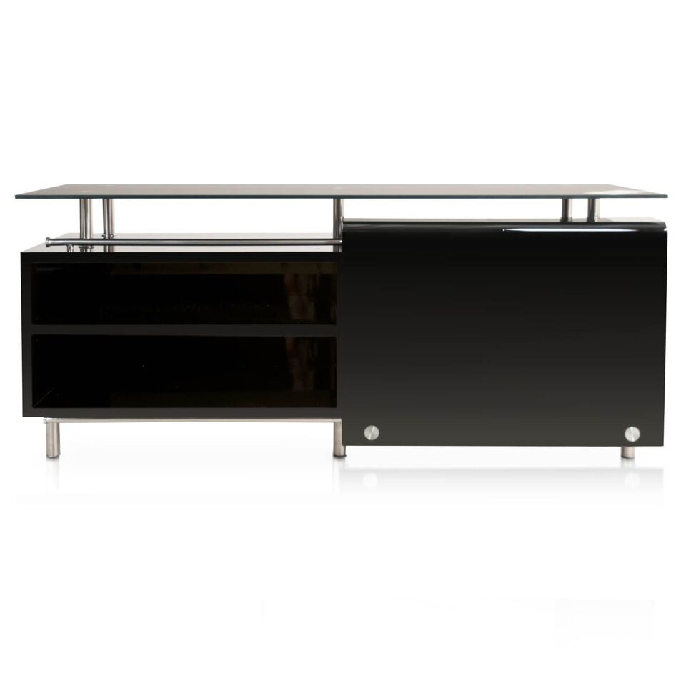 "71"" Black Glass-Top Storage Credenza"